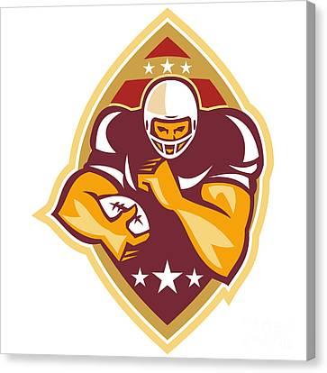American Football Running Back Star Ball Canvas Print by Aloysius Patrimonio