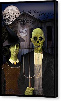 American Gothic Halloween Canvas Print by Gravityx9  Designs