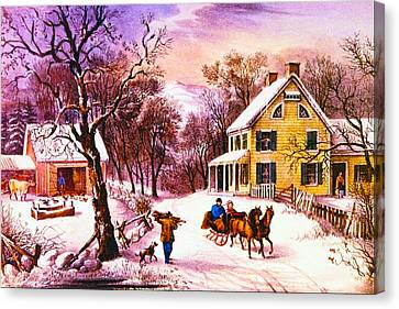 American Homestead Winter Canvas Print by Currier and Ives