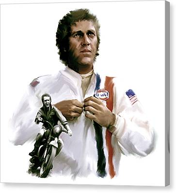 American Icon  Steve Mcqueen Canvas Print by Iconic Images Art Gallery David Pucciarelli