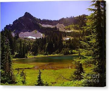 American Lake And American Ridge  Canvas Print by Jeff Swan