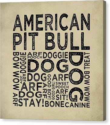 American Pit Bull Typography Canvas Print by Flo Karp