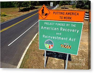 American Recovery And Reinvestment Act Road Sign Canvas Print by Olivier Le Queinec