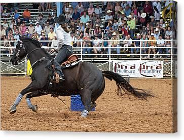 American Rodeo Female Barrel Racer Dark Horse II Canvas Print by Sally Rockefeller