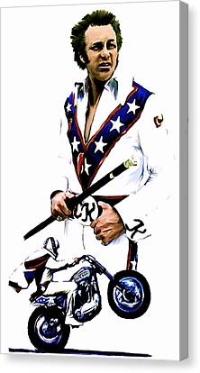 American Roulette V  Evel Knievel Canvas Print by Iconic Images Art Gallery David Pucciarelli