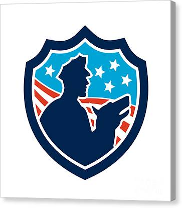 American Security Guard With Police Dog Shield Canvas Print by Aloysius Patrimonio
