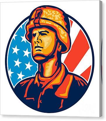 American Serviceman Soldier Flag Retro Canvas Print by Aloysius Patrimonio