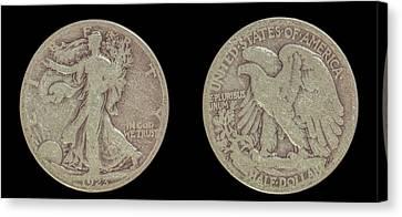 American Silver Half Dollar Liberty Canvas Print by Randy Steele