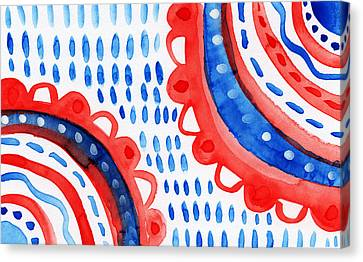 Americana Celebration 3- Painting Canvas Print by Linda Woods