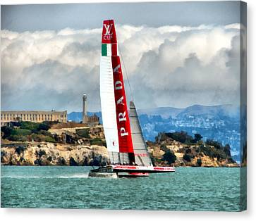 America's Cup And Alcatraz Ll Canvas Print by Michelle Calkins