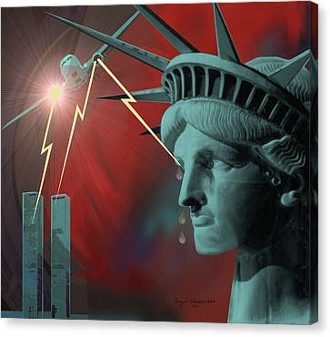 Americas Deepest  Wound  - 100 Canvas Print by Irmgard Schoendorf Welch