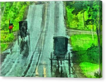 Amish Buggy Traffic Canvas Print by Dan Sproul