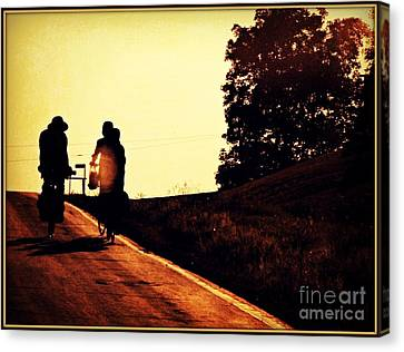 Amish Family Cycles Into Sunset Canvas Print by Beth Ferris Sale