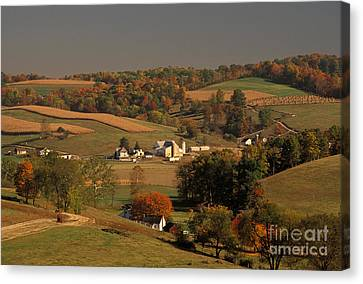 Amish Farm In An Ohio Valley In The Fall Canvas Print by Ron Sanford
