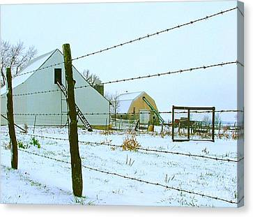 Amish Farm In Winter Canvas Print by Julie Dant