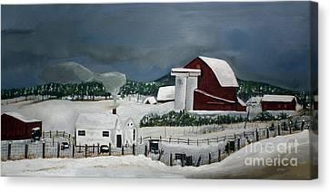 Amish Farm - Winter - Michigan Canvas Print by Jan Dappen