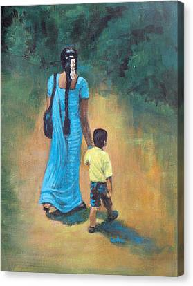 Amma's Grip Leads. Canvas Print by Usha Shantharam