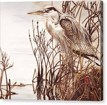 Among The Reeds Canvas Print by Cynthia Adams