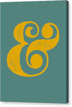 Ampersand Poster Blue And Yellow Canvas Print by Naxart Studio