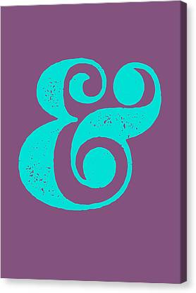 Ampersand Poster Purple And Blue Canvas Print by Naxart Studio