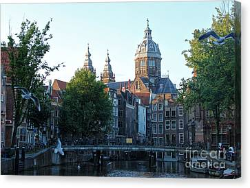 Amsterdam Canal View - 02 Canvas Print by Gregory Dyer