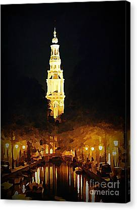 Amsterdam Church And Canal Canvas Print by John Malone