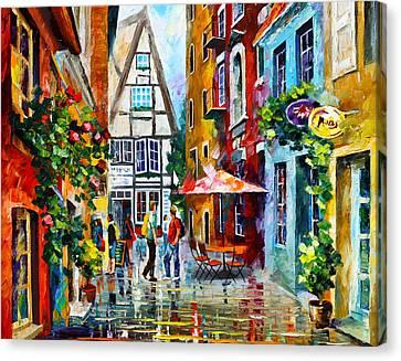 Amsterdam Street Canvas Print by Leonid Afremov