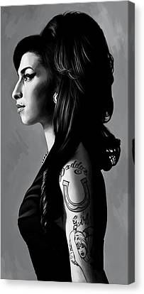 Amy Winehouse Artwork  2 Canvas Print by Sheraz A