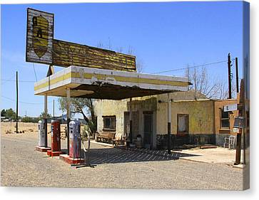 An Abandon Gas Station On Route 66 Canvas Print by Mike McGlothlen