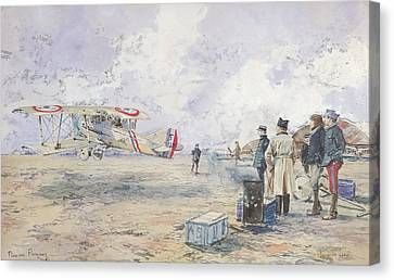 An Aeroplane Taking Off, 1913 Wc On Paper Canvas Print by Francois Flameng
