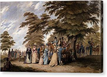 An Airing In Hyde Park, 1796 Canvas Print by Edward Days