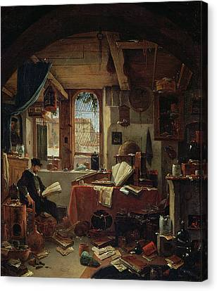 An Alchemist In His Laboratory Oil On Canvas Canvas Print by Thomas Wyck