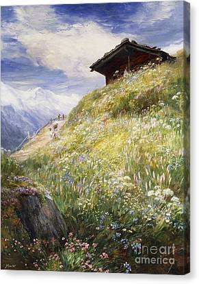 An Alpine Meadow Switzerland Canvas Print by John  MacWhirter