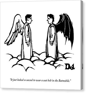 An Angel With Bat Wings Speaks To An Angel Canvas Print by Drew Dernavich