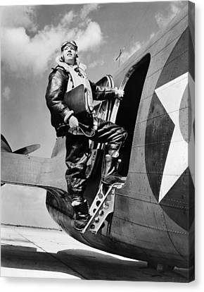 An Army Air Force Navigator Canvas Print by Underwood Archives