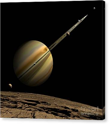 An Artists Depiction Of A Ringed Gas Canvas Print by Marc Ward