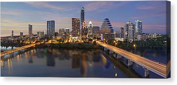 A Panorama Of The Austin Skyline Over Lady Bird Lake Canvas Print by Rob Greebon