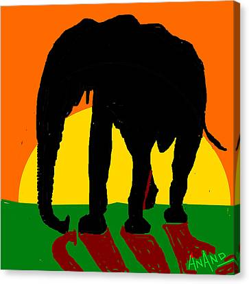 An Elephant And Sun Canvas Print by Anand Swaroop Manchiraju