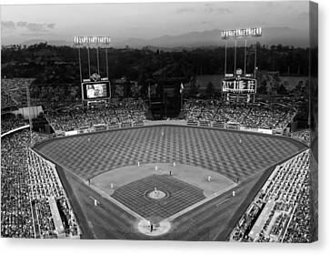An Evening Game At Dodger Stadium Canvas Print by Mountain Dreams