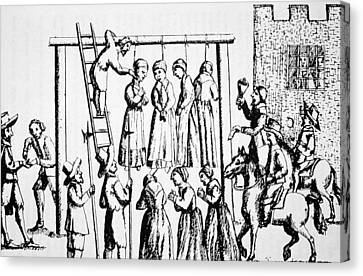 An Execution Of Witches In England Canvas Print by English School