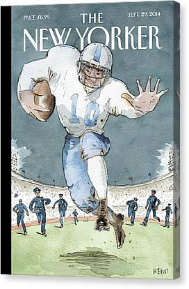 An Nfl Player Runs From The Police Canvas Print by Barry Blitt