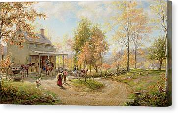 An October Day Canvas Print by Edward Lamson Henry