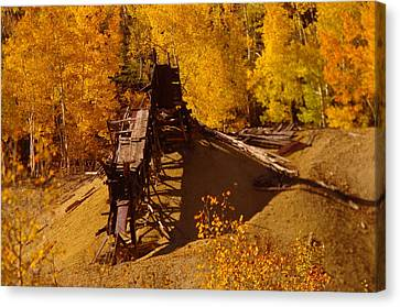 An Old Colorado Mine In Autumn Canvas Print by Jeff Swan