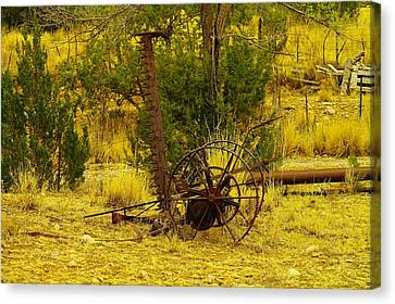 An Old Grass Cutter In Lincoln City New Mexico Canvas Print by Jeff Swan
