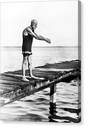 An Old Man Prepares To Dive Canvas Print by Underwood Archives