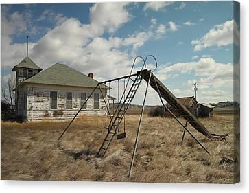 An Old School Near Miles City Montana Canvas Print by Jeff Swan
