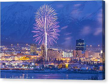 Anchorage Fireworks Seven Canvas Print by Tim Grams