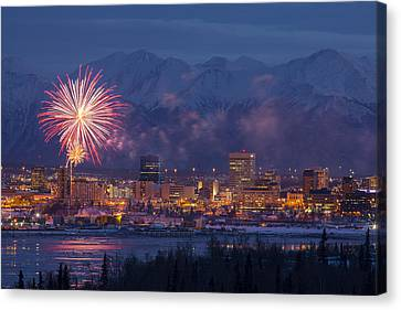 Anchorage Fireworks Six Canvas Print by Tim Grams