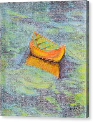 Anchored In The Shallows Canvas Print by Donna Blackhall