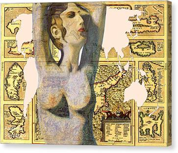 Ancient Cyprus Aphrodite And World Map  Canvas Print by Augusta Stylianou
